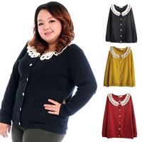 LS1055 Fat women Big Plus size cardigan knitting shirt Ladies Crochet collar Autumn Spring Sweater Top Blouse Coat XXL XXXL 4XL