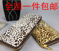 Leopard print wallet single zipper wallet women's wallet medium-long clutch large  Free Shipping