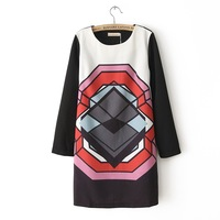 071 2014 autumn new dress,women fashion o-neck abstract pattern dress, black long-sleeve chiffon dress, one-piece dress