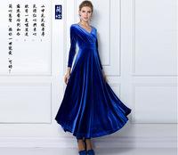 7076 Pleuche Long Sleeve dresses new fashion 2013 plus size women dress party evening elegant brand V neck half Circle dress
