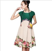 Chinese National Trend Dress 2013 Summer High Waist Embroidered Flower Ethnic Twisted Rustic Print Patchwork Dresses For Women