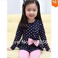1pcs Girl suit 100~140 Baby clothing set Navy/Pink set Princess Kids clothes suit Blouse+pants