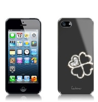 Hot Sale Four Leaf Clover Electroplating Bling Glitter Chrome Diamond Case for iphone 5