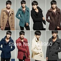 2013 New Autumn Winter Men's Clothing coat Outerwear/Turn down Collar Slim Men Double Breasted Wool Long Coat Overcoat M~XXL