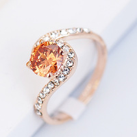 New arrival Austria crystal fashionable champagne color ring 18K real gold plated women's ring