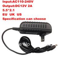 Free Shipping:8PCS/lot Camera Power Adapter Supply  AC 100-240V to DC 12V 2A Connector 5.5MM * 2.1MM EU US UK can choose