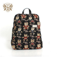 Danny BEAR fashion bearon sweet street double-shoulder zipper multi-pocket backpack db11528-5  +Free Shipping +Free Shipping