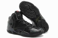Free Shipping leBron 11 all Black Sport shoes for sale cheap XI PS Ellite basketball designer trainers 2014 men LBJ us 8-12