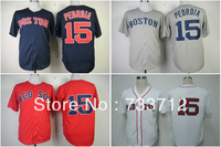 Free Shipping Boston Red Sox Jersey #15 Dustin Pedroia American Baseball Jerseys wholesale Mens grey blue white red