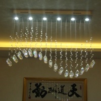 2014 Modern Fashion Wave Shaped Crystal Lighting For Bar,Restaurant,Home Free shipping