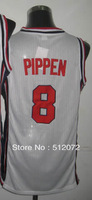 #8 Scottie Pippen Men's Authentic 1992 Olympic Game Dream Team USA White Basketball Jersey