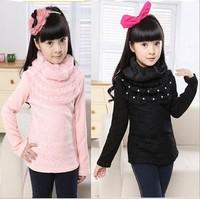 2013 Newest Girl children's wear children's cotton long sleeve T-shirt printed lace render unlined upper garment