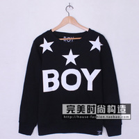 Fashion 2013 boy london star big letter BOY PRINTED lovers plus velvet sweatshirt outerwear SWEATER PULLOVER HOODY FREE SHIPPING