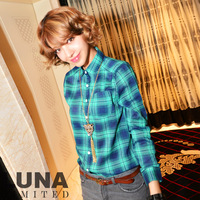 Luna spring 2012 women's shirt loose straight plaid 100% cs00314 cotton long-sleeve shirt
