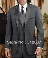 cheap Two buttons Notch Lapel Charcoal Groom Tuxedos Best Man Suits Groomsmen DRESS Men Wedding Suits (Jacket+Pants+Vest+Tie)
