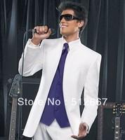 Free ESM/Best men's Suits Custom western Wedding italian(white jacket+Pant/purple VEST+Tie)Groom Tuxedo man for Groomsmen dress