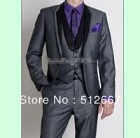 Top selling/Haut Groom Tuxedos Men's Wedding groomsmen Dress Prom Clothing Best party man for Suit (Jacket+Pants+Tie+Vest)