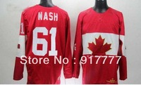 Free shipping Team Canada 61 Rick Nash Ice Hockey  Jerseys for 2014 Sochi  Winter Olympics Red all embroidery logo