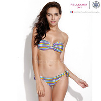 2014 New Bathing Suit! RELLECIGA Purple/White Multi StripeBandeau Top with a Sexy Open  V  Wire at Center Front Bikini Swimwear