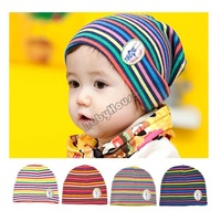 High quality 2013 New Winter Fashion head baby hat cartoon Infant Wool striped Beanie Yellow/Red/Gray/Blue 0 to 3 years 18928