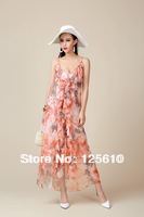 2013 new women's boutique fashion printed chiffon beach dress flower girl dress romantic