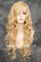 free shipping >>>Extra Long Spiral Curly Wavy Light & Golden Blonde Mix Wig