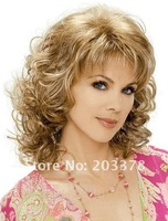 Stylish Casual Hair Blonde Medium length Curly Wig new Arrivals kanekalon synthetic wigs