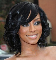 2013 New Beatiful Graceful Medium Black Curly 11 Hair Wig(Free Shipping)