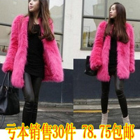 Autumn and winter women wool fur coat fox fur outerwear fur overcoat