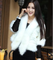2013 autumn and winter fox fur white half sleeve outerwear fur short design wool vest fur shawl