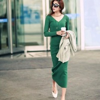 2013 thread knitted one-piece dress cotton 100% V-neck full dress basic skirt long-sleeve bohemia dress female
