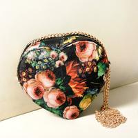 New Arrival fashion 2014 Vintage sweet oil painting cross body shoulder chain women's handbag heart mini mobile phone small bag