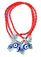 lot 20Pcs Red Hamsa (S) & Evil Eye Bead Kabbalah Charm String Braided Bracelets AS9810