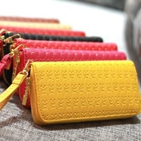 2013 new fashion Korea style women's long skull zipper bag lady long design purse free shipping