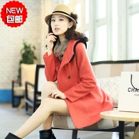2013 autumn and winter fashion gentlewomen slim with a hood double breasted medium-long woolen outerwear