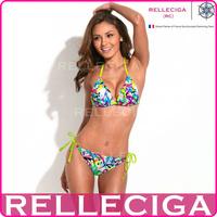 RELLECIGA Sexy Triangle Swimwear Bikini Set Swimsuit - Doodle Print Triangle Top with Fluorescent Yellow Ties Bathing Suit