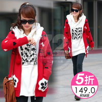 Sy215 2013 women's medium-long plus velvet thickening sweater outerwear autumn and winter female