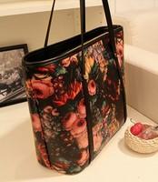 free shipping woman bags fashion 2014 beautiful  vintage oil painting women's shoulder handbag large flower bag