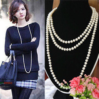 Ol elegant pearl all-match necklace decoration multi-layer necklace bride and bridesmaids women's long design gualian