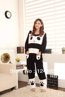 2013 new  winter women's coral fleece black white panda sleepwear female long-sleeve lounge set 51150
