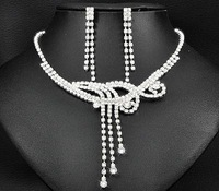 3set/lot Shiny Rhinestone Bride Necklace Earring Set Crystal Bride Wedding Jewellery Set Free Shipping 6412