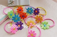Free Shipping 2014  New Arrival Flower Elastic Hair Bands Fashion Kids Girls Hair Ties Children Hair Accessories Ponytail Holder