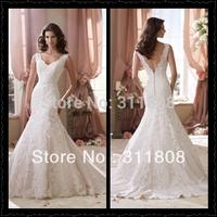 2014 Top Quality V Neck Beaded Applique Champagne Custom Made Designer Bridal Wedding Dress