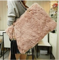 New Arrival Imitation Rabbit fur Tassels Handbag Double Cain Shoulder Bag  Pink Large- capacity Bag 1pcs/lot