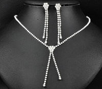 3set/lot Shiny Rhinestone  Bride Necklace Earring Set Crystal Bride Wedding Jewellery Set Free Shipping 6438