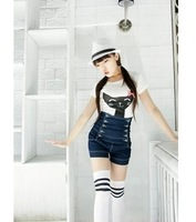 New slim waist-breasted denim shorts summer Korean women casual shorts super stretch big yards