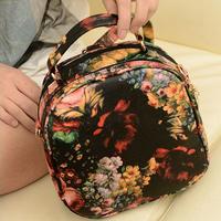 New Arrival fashion Design 2014 oil painting peony  female fashion vintage bag multicolour women's handbag