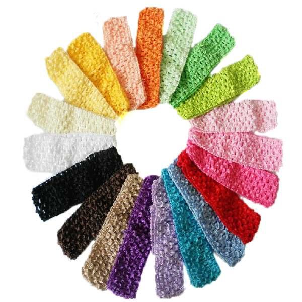 "26pcs/lot 26 Colors Elastic Crochet Headbands Girl Hair Accessory 1.5"" Newborn Infant baby girl hairband(China (Mainland))"