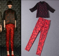 2014 Spring Fashion Women's 3/4 Sleeve Red Flower Print Black Loose Top + Long Red Trousers Boutique Set