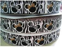 "7/8"" ribbons meech minnie zebra patterns cartton printed grosgrain ribbon hair bow accessories  freeshipping"